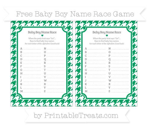 Free Shamrock Green Houndstooth Pattern Baby Boy Name Race Game
