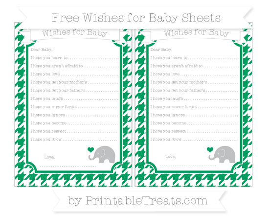 Free Shamrock Green Houndstooth Pattern Baby Elephant Wishes for Baby Sheets
