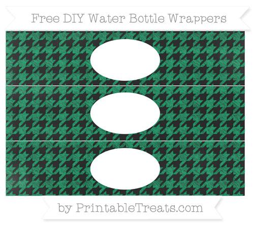 Free Shamrock Green Houndstooth Pattern Chalk Style DIY Water Bottle Wrappers