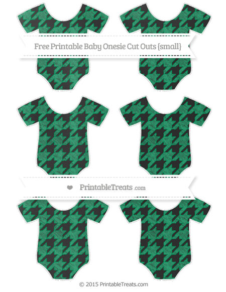 Free Shamrock Green Houndstooth Pattern Chalk Style Small Baby Onesie Cut Outs