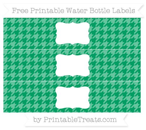 Free Shamrock Green Houndstooth Pattern Water Bottle Labels