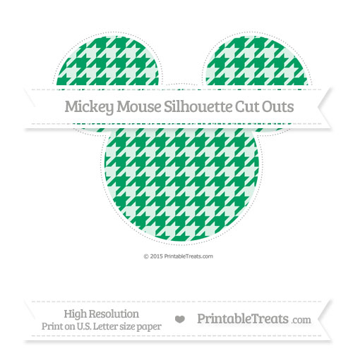 Free Shamrock Green Houndstooth Pattern Extra Large Mickey Mouse Silhouette Cut Outs