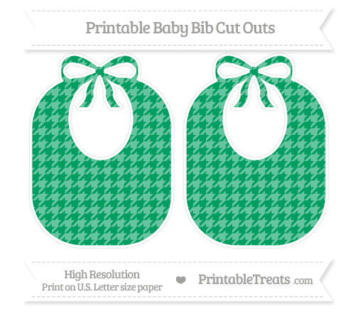 Free Shamrock Green Houndstooth Pattern Large Baby Bib Cut Outs