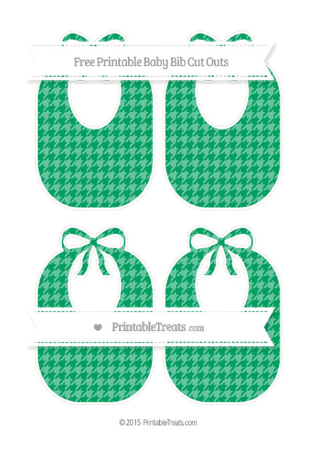 Free Shamrock Green Houndstooth Pattern Medium Baby Bib Cut Outs