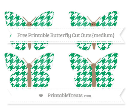 Free Shamrock Green Houndstooth Pattern Medium Butterfly Cut Outs