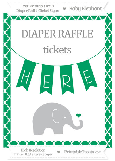 Free Shamrock Green Moroccan Tile Baby Elephant 8x10 Diaper Raffle Ticket Sign