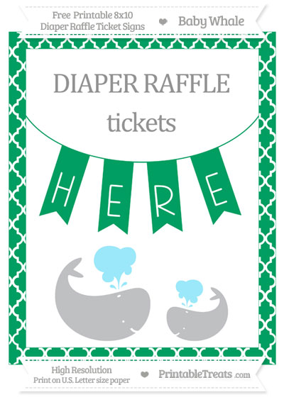 Free Shamrock Green Moroccan Tile Baby Whale 8x10 Diaper Raffle Ticket Sign