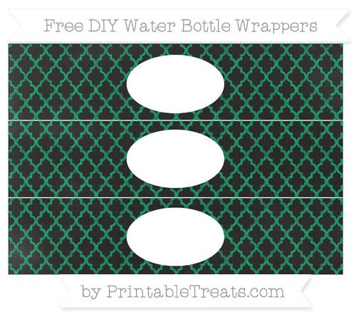 Free Shamrock Green Moroccan Tile Chalk Style DIY Water Bottle Wrappers