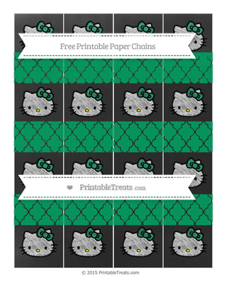 Free Shamrock Green Moroccan Tile Chalk Style Hello Kitty Paper Chains