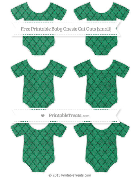 Free Shamrock Green Moroccan Tile Chalk Style Small Baby Onesie Cut Outs