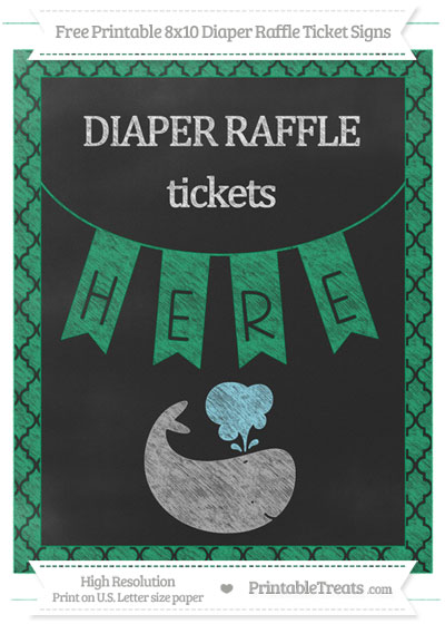 Free Shamrock Green Moroccan Tile Chalk Style Whale 8x10 Diaper Raffle Ticket Sign