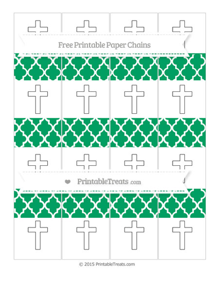 Free Shamrock Green Moroccan Tile Cross Paper Chains