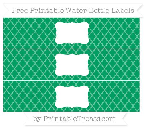 Free Shamrock Green Moroccan Tile Water Bottle Labels