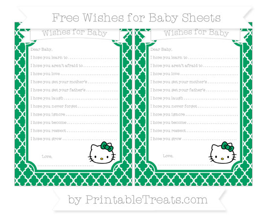 Free Shamrock Green Moroccan Tile Hello Kitty Wishes for Baby Sheets