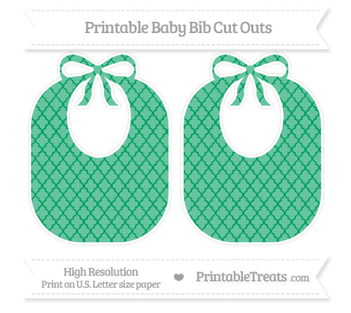 Free Shamrock Green Moroccan Tile Large Baby Bib Cut Outs