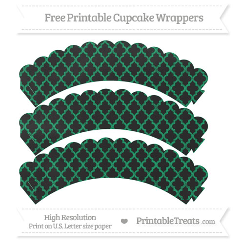 Free Shamrock Green Moroccan Tile Pattern Chalk Style Scalloped Cupcake Wrappers