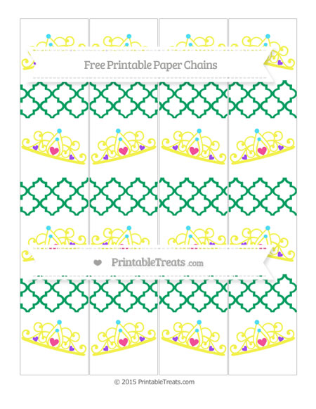 Free Shamrock Green Moroccan Tile Princess Tiara Paper Chains