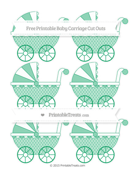 Free Shamrock Green Moroccan Tile Small Baby Carriage Cut Outs