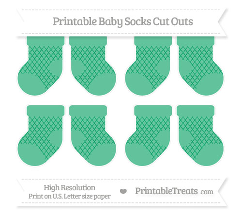 Free Shamrock Green Moroccan Tile Small Baby Socks Cut Outs