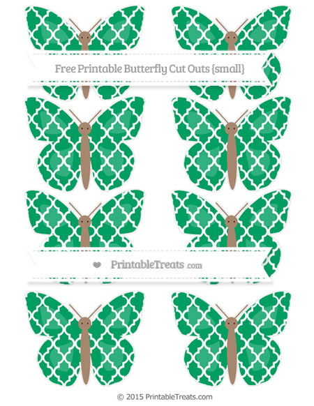 Free Shamrock Green Moroccan Tile Small Butterfly Cut Outs