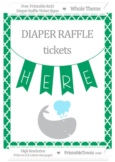 Free Shamrock Green Moroccan Tile Whale 8x10 Diaper Raffle Ticket Sign
