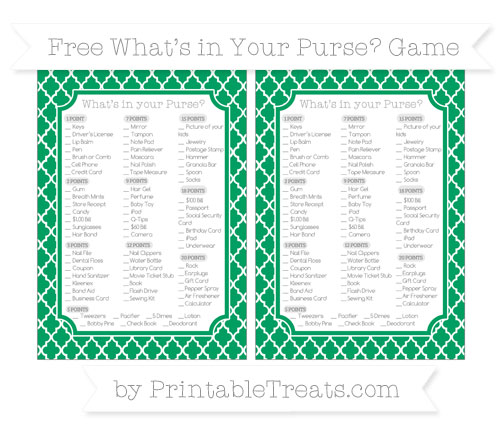 Free Shamrock Green Moroccan Tile What's in Your Purse Baby Shower Game