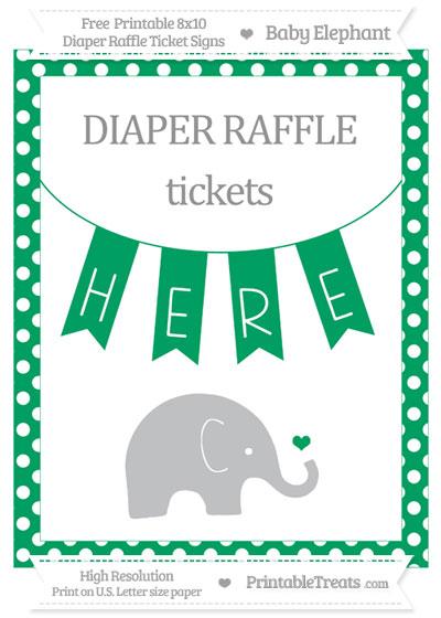 Free Shamrock Green Polka Dot Baby Elephant 8x10 Diaper Raffle Ticket Sign