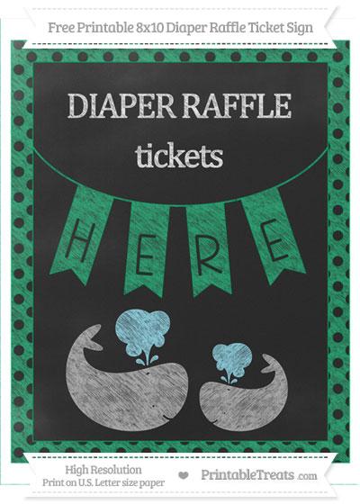 Free Shamrock Green Polka Dot Chalk Style Baby Whale 8x10 Diaper Raffle Ticket Sign