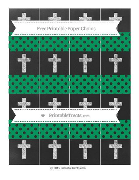 Free Shamrock Green Polka Dot Chalk Style Cross Paper Chains