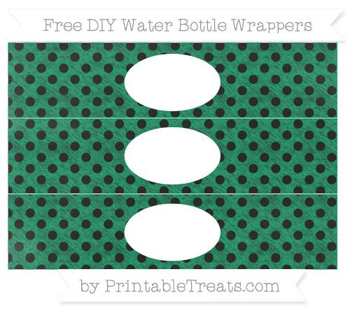 Free Shamrock Green Polka Dot Chalk Style DIY Water Bottle Wrappers