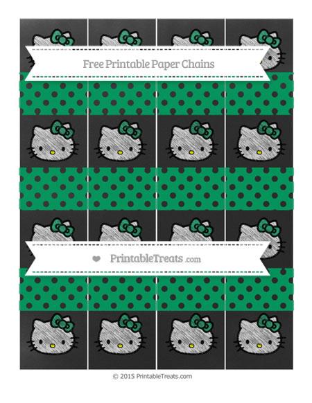 Free Shamrock Green Polka Dot Chalk Style Hello Kitty Paper Chains