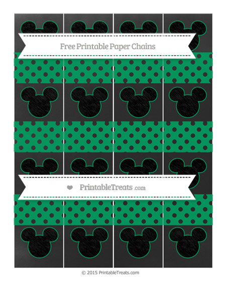 Free Shamrock Green Polka Dot Chalk Style Mickey Mouse Paper Chains