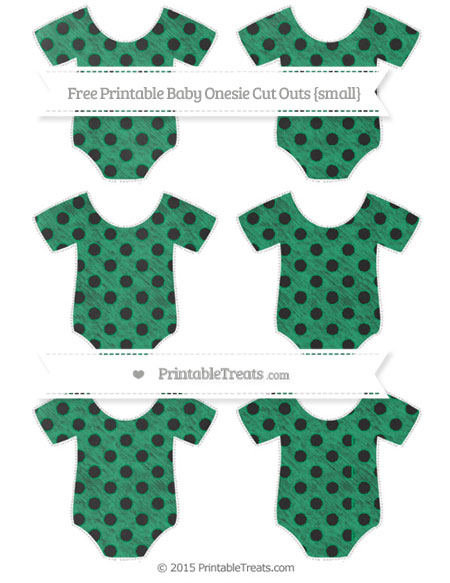 Free Shamrock Green Polka Dot Chalk Style Small Baby Onesie Cut Outs