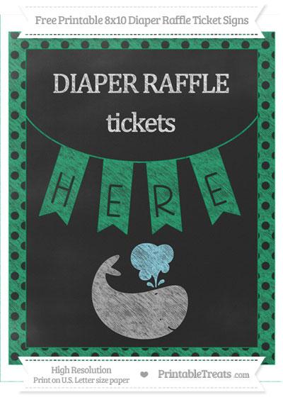 Free Shamrock Green Polka Dot Chalk Style Whale 8x10 Diaper Raffle Ticket Sign