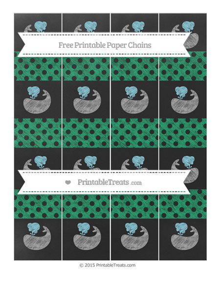 Free Shamrock Green Polka Dot Chalk Style Whale Paper Chains
