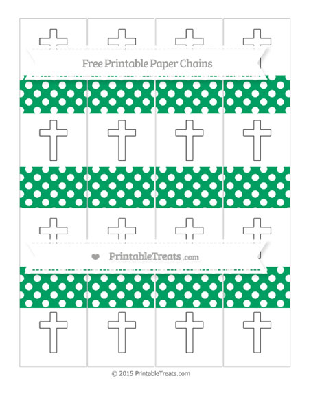 Free Shamrock Green Polka Dot Cross Paper Chains