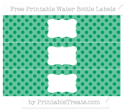 Free Shamrock Green Polka Dot Water Bottle Labels