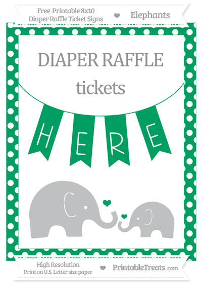 Free Shamrock Green Polka Dot Elephant 8x10 Diaper Raffle Ticket Sign