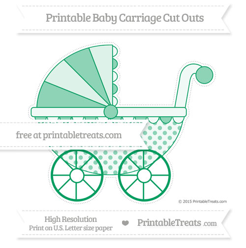 Free Shamrock Green Polka Dot Extra Large Baby Carriage Cut Outs