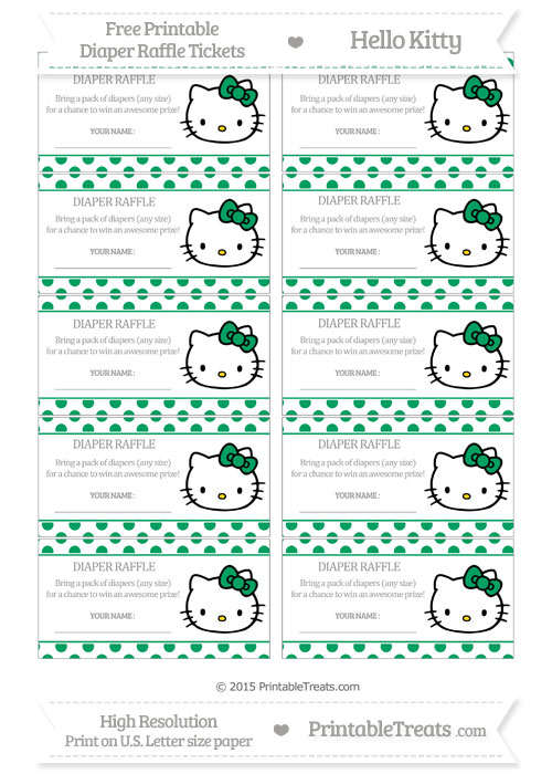 Free Shamrock Green Polka Dot Hello Kitty Diaper Raffle Tickets