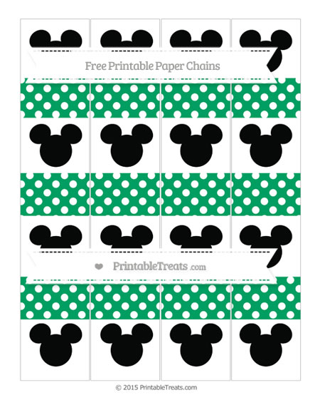 Free Shamrock Green Polka Dot Mickey Mouse Paper Chains