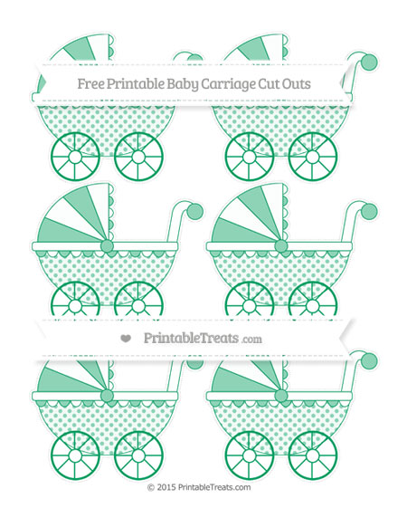 Free Shamrock Green Polka Dot Small Baby Carriage Cut Outs