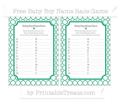 Free Shamrock Green Quatrefoil Pattern Baby Boy Name Race Game