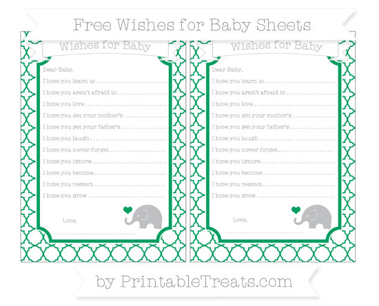 Free Shamrock Green Quatrefoil Pattern Baby Elephant Wishes for Baby Sheets