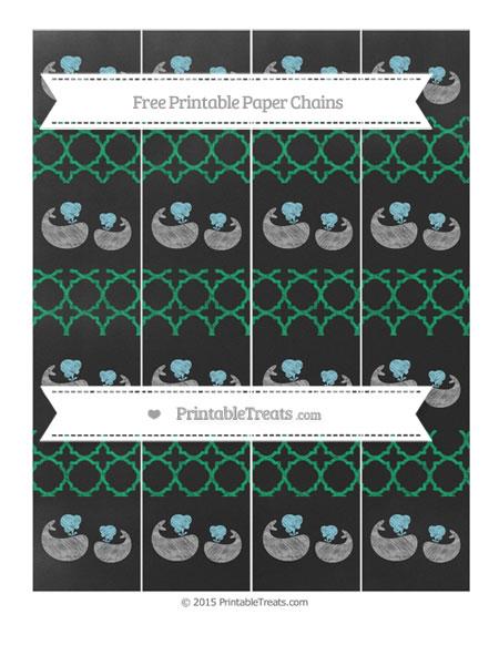 Free Shamrock Green Quatrefoil Pattern Chalk Style Baby Whale Paper Chains