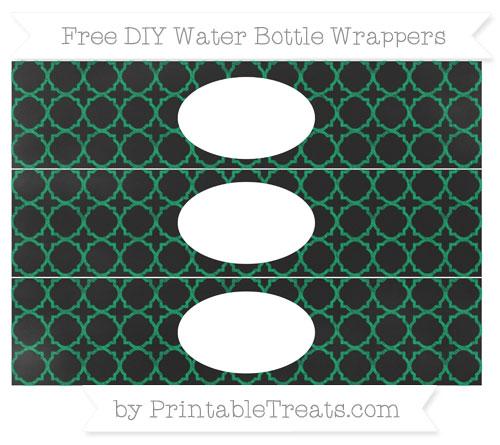Free Shamrock Green Quatrefoil Pattern Chalk Style DIY Water Bottle Wrappers