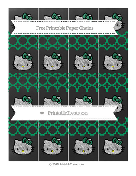 Free Shamrock Green Quatrefoil Pattern Chalk Style Hello Kitty Paper Chains