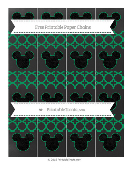 Free Shamrock Green Quatrefoil Pattern Chalk Style Mickey Mouse Paper Chains