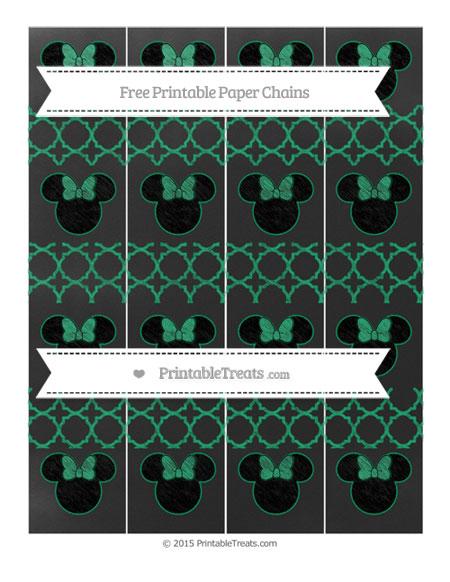 Free Shamrock Green Quatrefoil Pattern Chalk Style Minnie Mouse Paper Chains