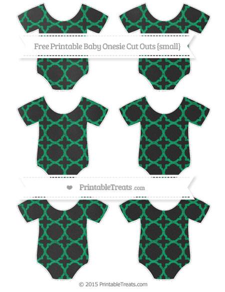 Free Shamrock Green Quatrefoil Pattern Chalk Style Small Baby Onesie Cut Outs